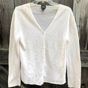 Eileen Fisher Ivory Cotton Blend Open Front Cardi
